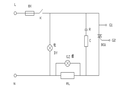 k-------电源开关      r,c ------组成可控硅保护电路,r为2w  100